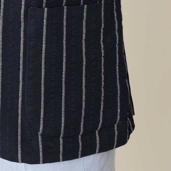 [ 29%OFF ] 【UrbanSafari(アーバンサファリ)掲載】コットンブレンドニットサッカーワイドストライプジャケット