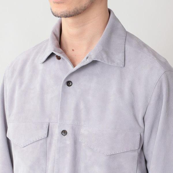 ゴートスエードレザーサファリシャツ/シャツブルゾン(シャツジャケット)