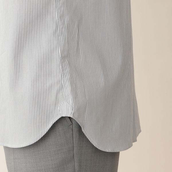 [ 38%OFF ] ストライプクレリックドレスシャツ/ワイドカラー