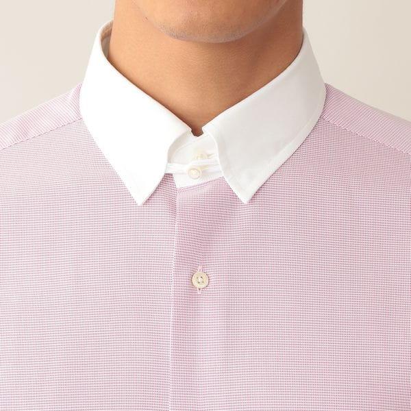 ピンヘッドチェッククレリックドレスシャツ/タブカラー