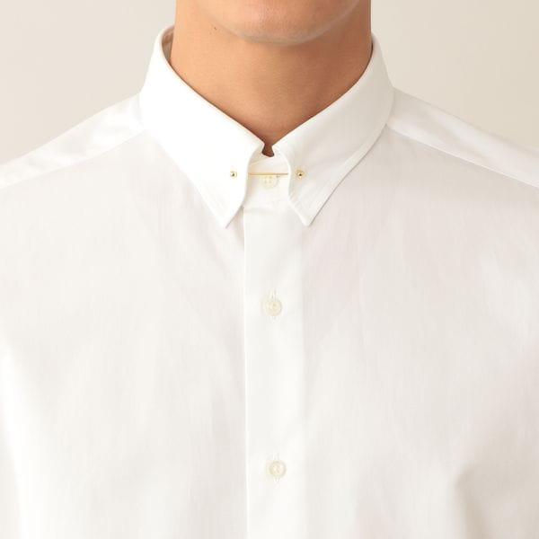 コットンブロードピンホールカラードレスシャツ