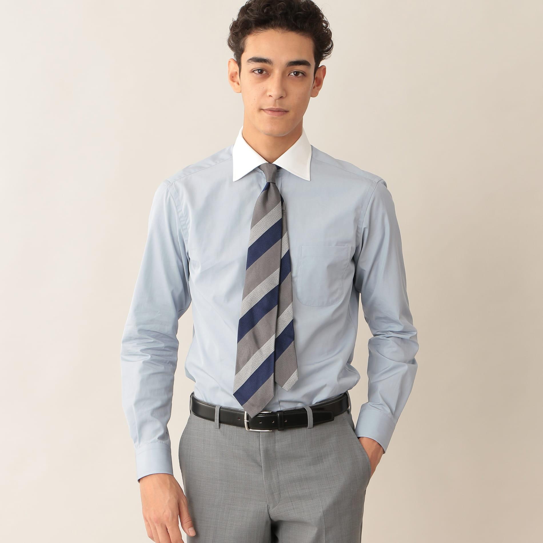 [ 27%OFF ] ハケメクレリックドレスシャツ/セミワイドカラー