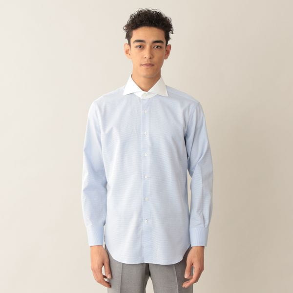 ピンヘッドチェッククレリックドレスシャツ/ホリゾンタルカラー