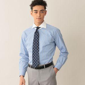 ニューヨークストライプクレリックドレスシャツ/ホリゾンタルカラー