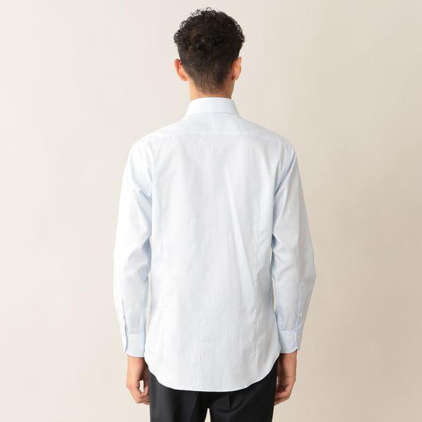 [ 42%OFF ] ドビーストライプドレスシャツ/ホリゾンタルカラー【0401】
