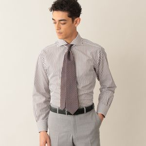 ドビーロンドンストライプドレスシャツ/ホリゾンタルカラー