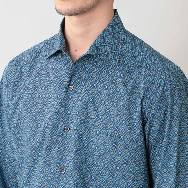 [ 40%OFF ] リバティープリントイタリアンカラーシャツ(カジュアルシャツ)