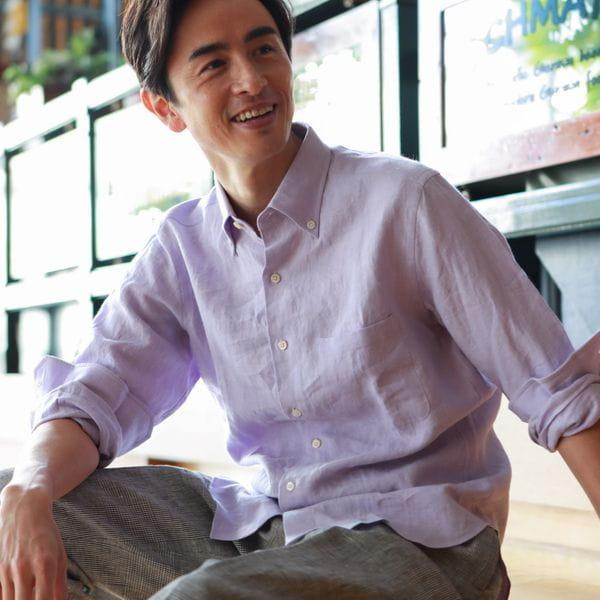 ◇◇ハイカウントフレンチリネンボタンダウンシャツ(カジュアルシャツ)