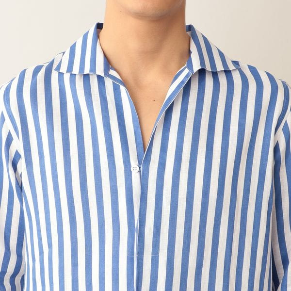 [ 21%OFF ] リネンストライプオープンカラーシャツ/カプリシャツ