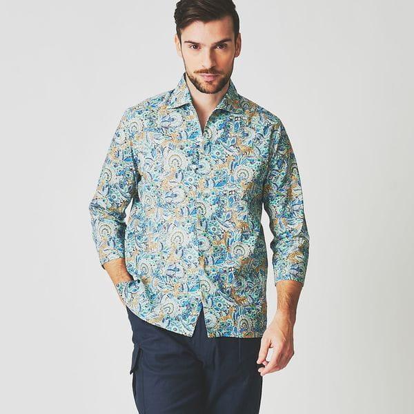 ◇◇リバティーアニマルプリントオープンカラーリネンシャツ/カプリシャツ(カジュアルシャツ)