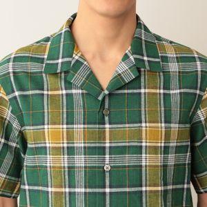 [ 50%OFF ] コットン×リネンオープンカラーチェックシャツ