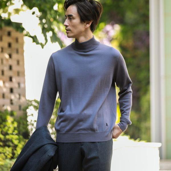キャッシュウールニットハイネックセーター