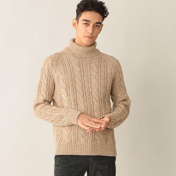 [ 40%OFF ] 【数量限定】メランジケーブルニットタートルネックセーター