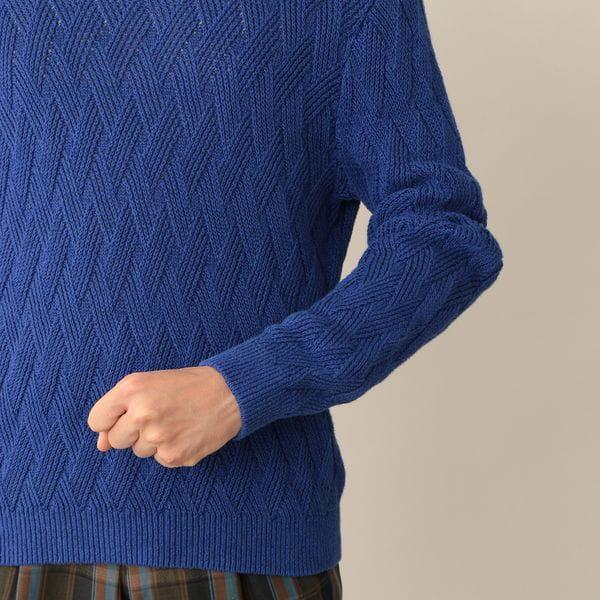 リネンコットンダイヤクルーネックセーター