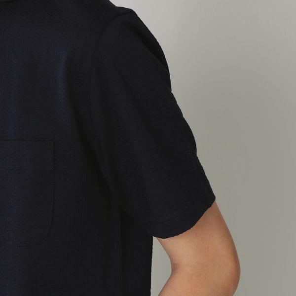 ◇◇ホリゾンタルカラーコットンニットサッカーシャツ/サマーシャツ(クールビズ/ビジネスカジュアル対応)