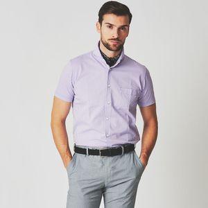ジャージシアサッカーホリゾンタルカラーシャツ/サマーシャツ(クールビズ/ビジネスカジュアル対応)