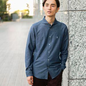 メランジツイルジャージホリゾンタルカラーシャツ(吸水速乾機能)