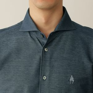 ◇◇メランジツイルジャージホリゾンタルカラーシャツ【吸水速乾機能】(カジュアルシャツ)