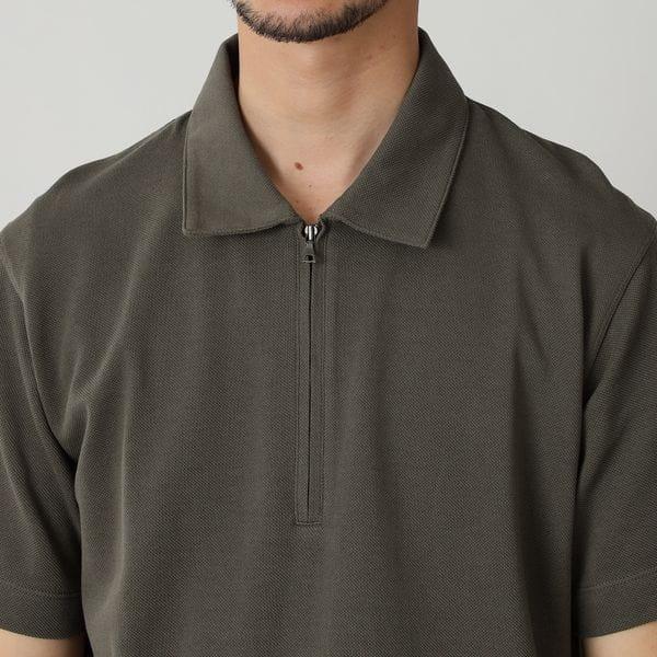 コットンカノコハーフジップポロシャツ(ZIPポロ)