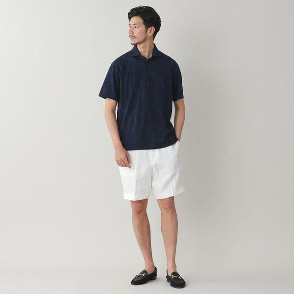 ◇◇シャドウボタニカルプリントコットンカノコポロシャツ