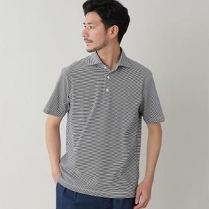 ◇◇マイクロボーダーコットンポロシャツ/アイコンポロシャツ(汗染み防止)