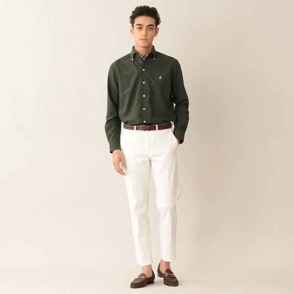 [ 27%OFF ] 「MADE IN JAPAN」アイコンストライプニットサッカーシャツ/イタリアンカラー