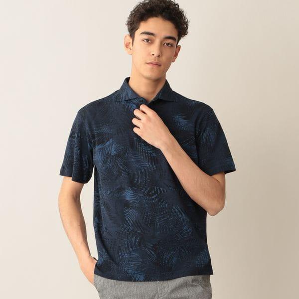 [ 23%OFF ] エキゾチックリーフプリントコットンカノコポロシャツ