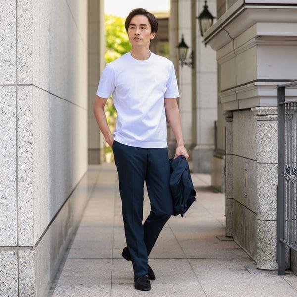 【大人気!「ホワイト限定」全国展開開始】「Dress Tee Shirts」 コットンスムースドレスTシャツ/カットソー(ホワイト/白T)