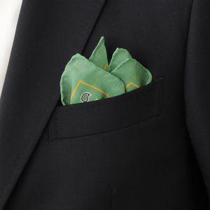 コットンシルク小紋ペイズリー柄プリントポケットチーフ/ポケットスクエア(イタリア製素材使用)