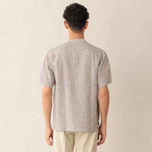 [ 52%OFF ] リネンダブルポケットバンドカラーシャツ