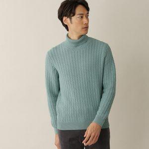 [ 29%OFF ] 【数量限定】「COLLECTION LINE」オルタネイトケーブルニットタートルネックセーター