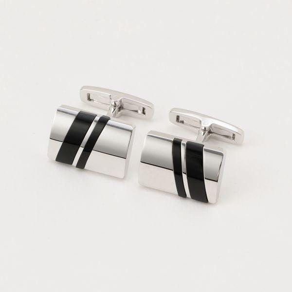 ◆◆ダブルストライプオニキスカフリンクス/カフスボタン(化粧箱付き)