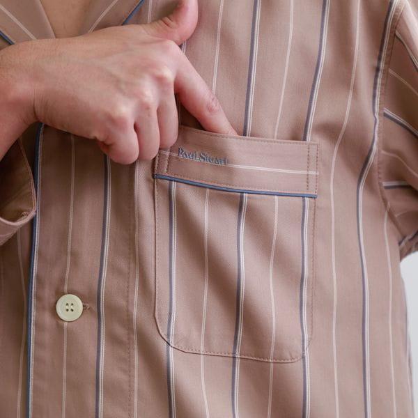 ◆◆【ラウンジウェア】サテンストライプメンズパジャマ/シャツ×ロングパンツセットアップ(部屋着/ルームウェア/ナイトウェア)