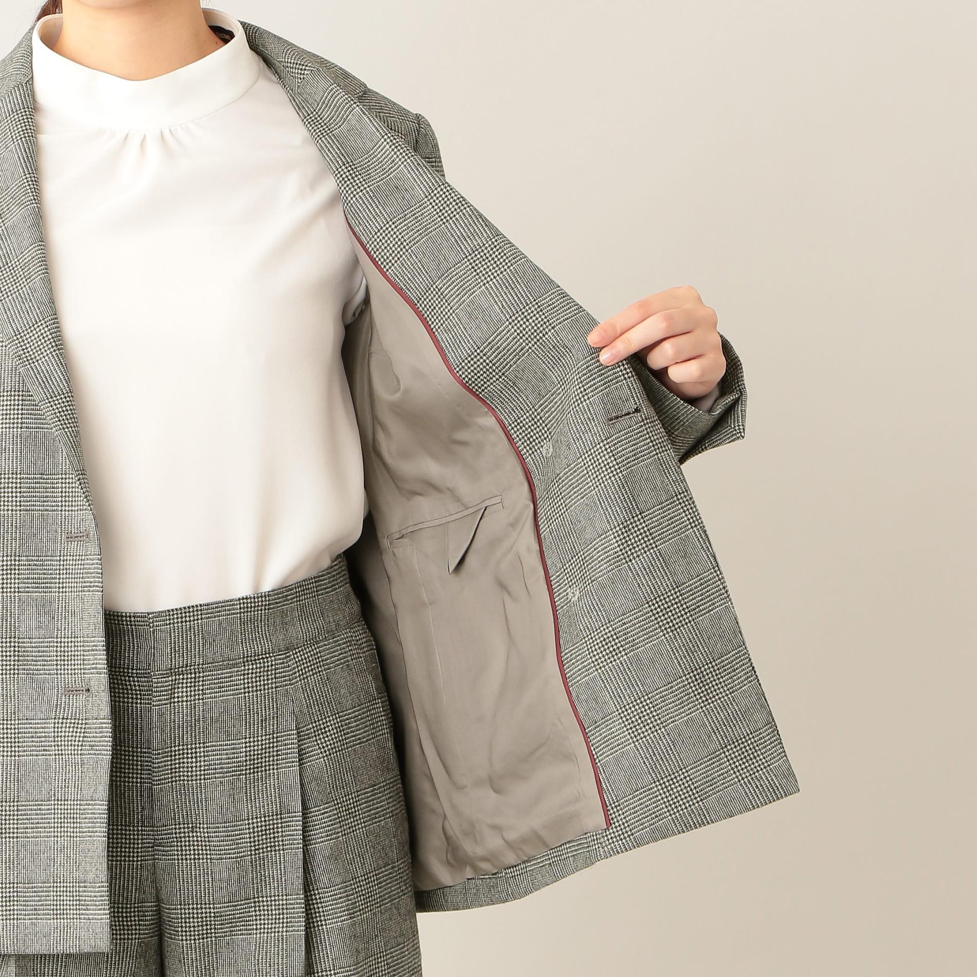 【eclat別注】サキソニー&ツィードストレッチ グレンチェック ジャケット