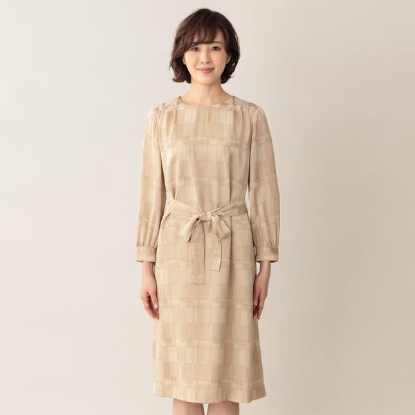 [ 41%OFF ] シャイニーブロックジャカードワンピース/ドレス