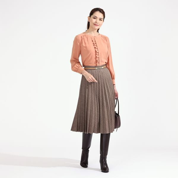 ナチュラルストレッチジョーゼットブラウス【ウォッシャブル】21FW