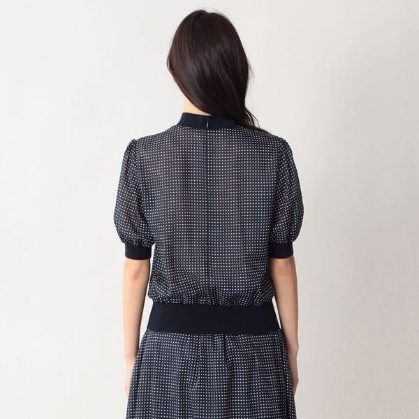 イコールドットプリントブラウス【ウォッシャブル】(セットアップ対応)【日経Ai】