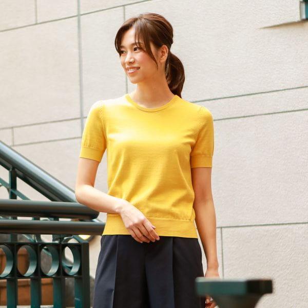 【ウォッシャブル】ハイツイスト綿シルクニットプルオーバー(アンサンブル対応)