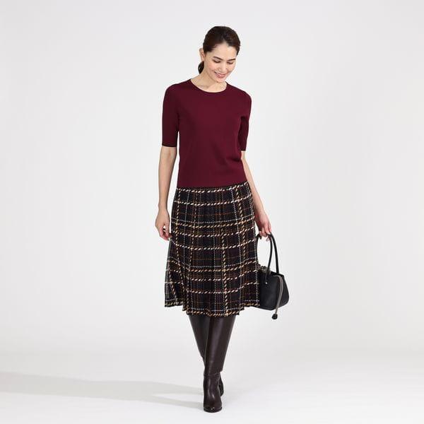 グラフィカルチェックプリントプリーツスカート【ウォッシャブル】21FW