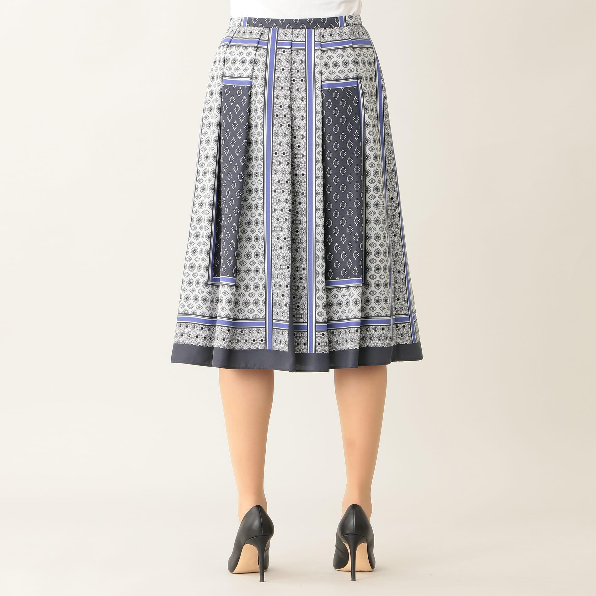 【ウォッシャブル】スカーフプリント スカート