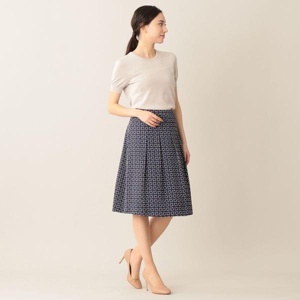 [ 25%OFF ] 【ウォッシャブル】カッティングスクエアプリントスカート